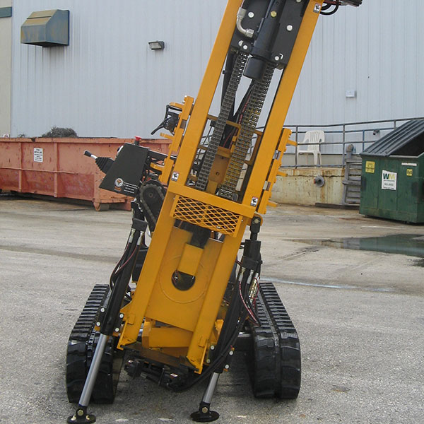 The CGR-174U Drill Rig can tilt and also rotate its mast.